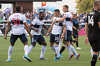 SAN JOSE, CA - AUGUST 24: Jake Nerwinski #28 of the Vancouver Whitecaps celebrates with Theo Bair #50, Doneil Henry #2, and Andy Rose #15. during a game between Vancouver Whitecaps FC and San Jose Earthquakes at Avaya Stadium on August 24, 2019 in San Jose, California.