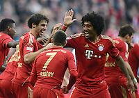 FUSSBALL   1. BUNDESLIGA  SAISON 2012/2013   13. Spieltag FC Bayern Muenchen - Hannover 96     24.11.2012 Jubel nach dem Tor zum 1:0 mit Javi , Javier Martinez, Franck Ribery, Dante  (v. li., FC Bayern Muenchen)