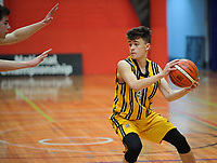 Action from the 2017 AA Boys' Secondary Schools Basketball Premiership National Championship match between New Plymouth Boys' High School (gold and black) and Christs College (black) at the B&M Centre in Palmerston North, New Zealand on Wednesday, 4 October 2017. Photo: Dave Lintott / lintottphoto.co.nz