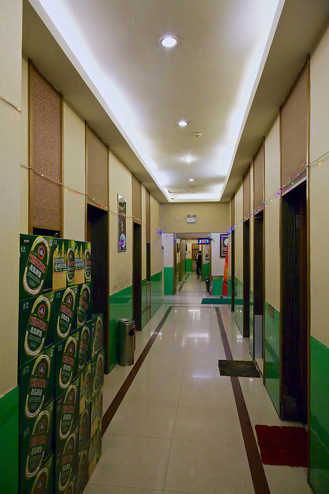 HSBC Building, Qingdao (Tsingtao).  The Ground Floor Is Currently A Restaurant.  Pictured Is A Corridor Leading To Small Private Dining Rooms.