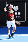 9th January 2018, ASB Tennis Centre, Auckland, New Zealand; ASB Classic, ATP Mens Tennis;  Lukas Lacko (SVK) wins his match against Stefanos Tsitsipas (GRE) during the ASB Classic ATP Men's Tournament Day 2