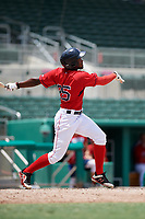 GCL Red Sox right fielder Chad Hardy (25) follows through on a swing during a game against the GCL Orioles on August 9, 2018 at JetBlue Park in Fort Myers, Florida.  GCL Red Sox defeated GCL Orioles 10-4.  (Mike Janes/Four Seam Images)