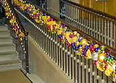"""Ornaments adorn the railings in the East Wing Hallway as part of the 2015 White House Christmas theme """"A Timeless Tradition"""" at the White House in Washington, DC on Wednesday, December 2, 2015.<br /> Credit: Ron Sachs / CNP"""