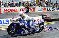 Sept 9, 2012; Clermont, IN, USA: NHRA pro stock motorcycle rider Hector Arana Jr during the US Nationals at Lucas Oil Raceway. Mandatory Credit: Mark J. Rebilas-