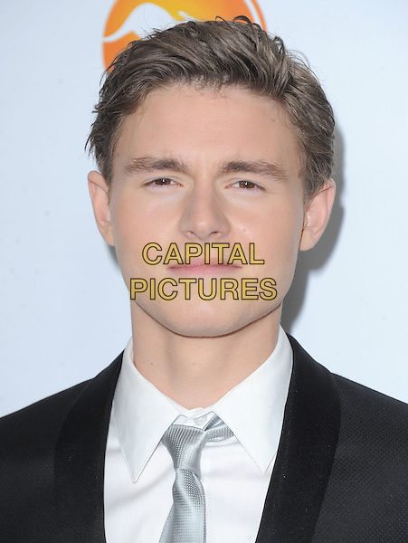 Callan McAuliffe.at The G'Day USA Black Tie Gala held at The JW Marriot at LA Live in Los Angeles, California, January 12th 2013.                                                                 .portrait headshot white shirt black grey gray suit tie .CAP/DVS.©Debbie VanStory/Capital Pictures.