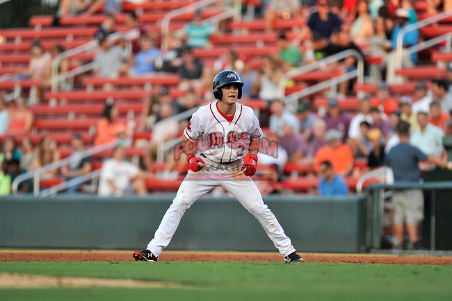 Center fielder Andrew Benintendi (2) of the Greenville Drive runs the bases a game against the Greensboro Grasshoppers on Thursday, August 27, 2015, at Fluor Field at the West End in Greenville, South Carolina. Benintendi is a first-round pick of the Boston Red Sox in the 2015 First-Year Player Draft out of the University of Arkansas. Greenville won, 10-2. (Tom Priddy/Four Seam Images)