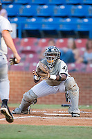 Catcher Francisco Hernandez (16) of the Winston-Salem Warthogs braces for impact at home plate at Ernie Shore Field in Winston-Salem, NC, Thursday July 27, 2008. (Photo by Brian Westerholt / Four Seam Images)