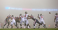 (10/22/2017- Foxboro, MA) Atlanta Falcons quarterback Matt Ryan seemed to be in a fog while playing in the fog during a 23-7 loss to the New England Patriots at Gillette Stadium on Sunday, October 22, 2017. Staff Photo by Matt West