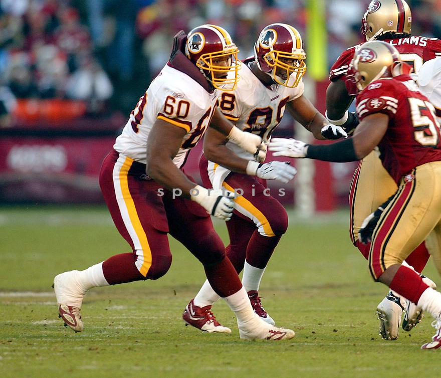 Chris Samuels during the Washington Redskins v. San Francisco 49ers game on December 18, 2004...Redskins win 26-16..Rob Holt / SportPics