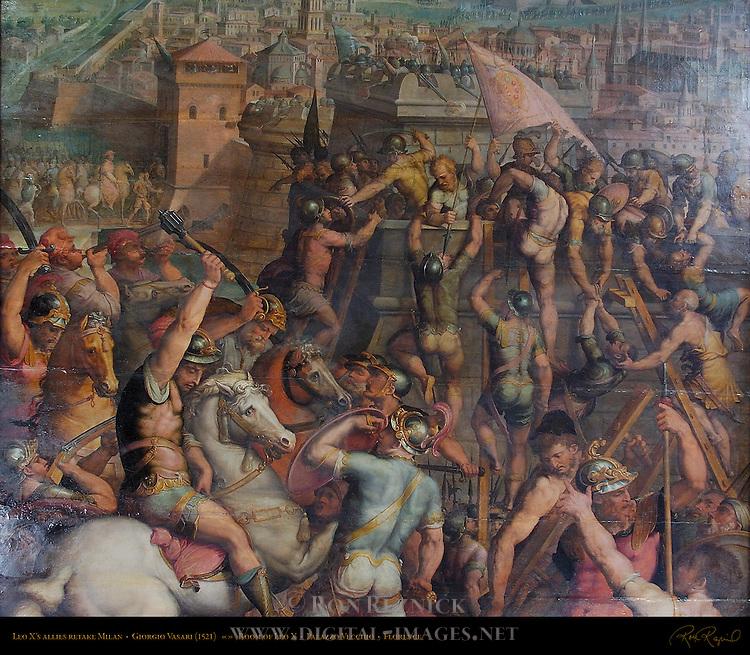 Leo X's allies retake Milan (1521), Giorgio Vasari, Giovanni Stradano and Marco da Faenza, Room of Leo X, Palazzo Vecchio, Florence, Italy