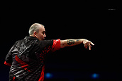 "11th January 2018, Brisbane Royal International Convention Centre, Brisbane, Australia; Pro Darts Showdown Series; Phil ""The Power"" Taylor (GBR) in semi final action against Simon ""The Wizard"" Whitlock (AUS)"