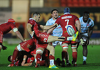 Scarlets' Gareth Davies clears the danger<br /> <br /> Photographer Ian Cook/CameraSport<br /> <br /> European Rugby Champions Cup - Scarlets v Racing 92 - Saturday 13th October 2018 - Parc y Scarlets - Llanelli<br /> <br /> World Copyright © 2018 CameraSport. All rights reserved. 43 Linden Ave. Countesthorpe. Leicester. England. LE8 5PG - Tel: +44 (0) 116 277 4147 - admin@camerasport.com - www.camerasport.com