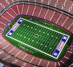 Aerial photograph of the New York  Giants Football Stadium at the meadowlands Aerial views of artistic patterns in the earth.
