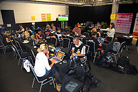 The photographers' room on day two of the 2019 HSBC World Sevens Series Hamilton at FMG Stadium in Hamilton, New Zealand on Sunday, 27 January 2019. Photo: Dave Lintott / lintottphoto.co.nz