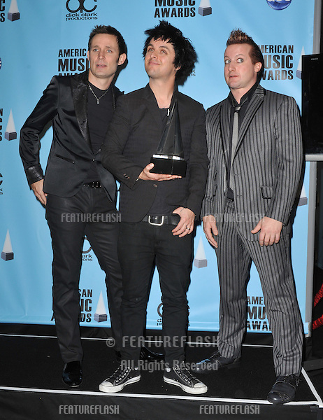 Green Day in the press room for the 2009 American Music Awards at the Nokia Theatre L.A. Live..November 22, 2009  Los Angeles, CA.Picture: Paul Smith / Featureflash