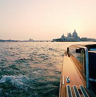 Basilica di Santa Maria della Salute, St Mary of Health, seen from a motor boat, Venice, Italy