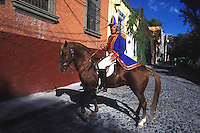 A man in costume for Independence day festivities, San Miguel de Allende, Guanajuato, Mexico 16-9-05