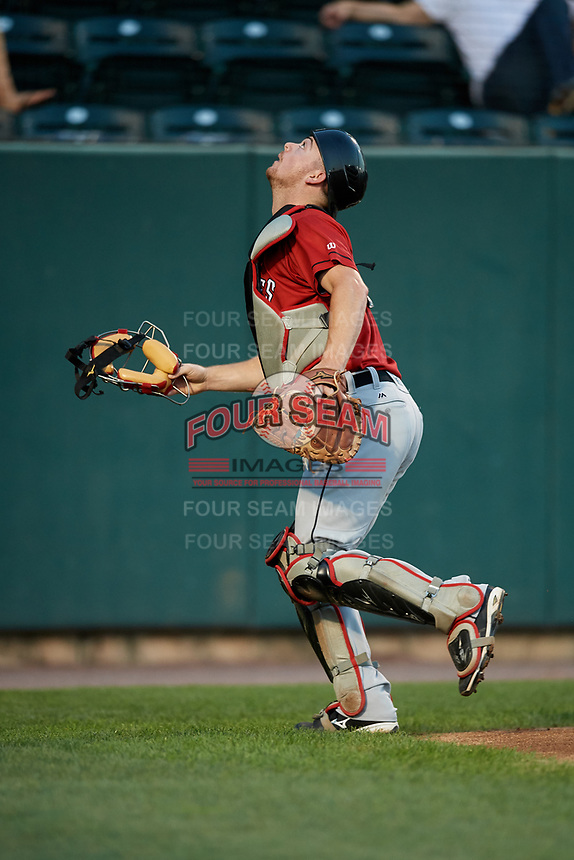 Erie SeaWolves catcher Jake Rogers (7) tracks a pop up during a game against the Harrisburg Senators on August 29, 2018 at FNB Field in Harrisburg, Pennsylvania.  Harrisburg defeated Erie 5-4.  (Mike Janes/Four Seam Images)