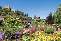 Germany, Baden-Wuerttemberg, Markgraefler Land, health resort Badenweiler: spa gardens and ruin of castle Baden