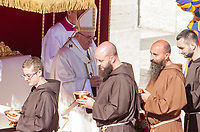 Pope Francis celebrates a canonization ceremony in St. Peter's Square at the Vatican, October 15, 2017. The pontiff canonized Italian Capuchin priest  Angelo of Acri, Spanish priest Faustino Miguez, the Child Martyrs of Tlaxcala, (Mexico) Cristobal, Antonio and Juan, and the Martyrs of Natal, Jesuit priest Andre de Soveral, diocesan priest Ambrosio Francisco Ferro, layman Mateus Moreira and 27 others, killed in 1645 in an anti-Catholic persecution carried out by Dutch Calvinists in Natal, Brazil. <br /> UPDATE IMAGES PRESS/Riccardo De Luca<br /> <br /> STRICTLY ONLY FOR EDITORIAL USE