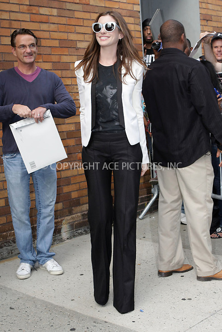 WWW.ACEPIXS.COM . . . . . .August 18, 2011...New York City...Anne Hathaway visits The Daily Show with Jon Stewart  on August 18, 2011 in New York City.....Please byline: NANCY RIVERA - ACEPIXS.COM.. . . . . . ..Ace Pictures, Inc: ..tel: (212) 243 8787 or (646) 769 0430..e-mail: info@acepixs.com..web: http://www.acepixs.com .