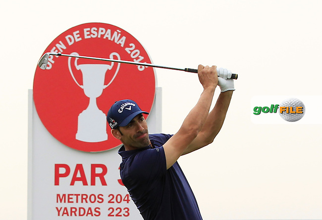 Alvaro Quiros (ESP) on the 13th tee during Round 1 of the Open de Espana  in Club de Golf el Prat, Barcelona on Thursday 14th May 2015.<br /> Picture:  Thos Caffrey / www.golffile.ie