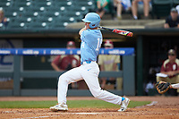 Tyler Lynn (14) of the North Carolina Tar Heels follows through on his swing against the Florida State Seminoles in the 2017 ACC Baseball Championship Game at Louisville Slugger Field on May 28, 2017 in Louisville, Kentucky. The Seminoles defeated the Tar Heels 7-3. (Brian Westerholt/Four Seam Images)