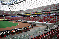 The PGE Narodowy or National Stadium of Poland. It's a retractable roof football stadium able to host other sporting events like the 2018 Boll Warsaw FIM Speedway Grand Prix of Poland. Located in Warsaw with a capacity of 58,000 during a visit to the PGE National Stadium, Warsaw on 12th May 2018