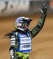 ANTONIO LINDBACK (Sweeden) celebrates after winning the second semi-final during the 2016 Adrian Flux British FIM Speedway Grand Prix at Principality Stadium, Cardiff, Wales  on 9 July 2016. Photo by David Horn.