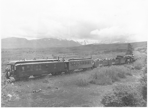 Engine #74 with club excursion southbound probably just south of Valley View.  Private car &quot;Edna&quot; is on the rear.<br /> RGS  s. of Valley View, CO  Taken by Gerbaz, Del H. - 5/28/1949