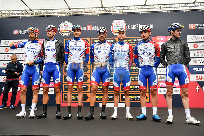 Groupama-FDJ at sign on before the start of the world's oldest classic the 100th edition of Milano-Torino running 179km from Magenta to the Basilica at Superga in Turin, Italy. 9th Octobre 2019. <br /> Picture: LaPresse | Cyclefile<br /> <br /> All photos usage must carry mandatory copyright credit (© Cyclefile | LaPresse)