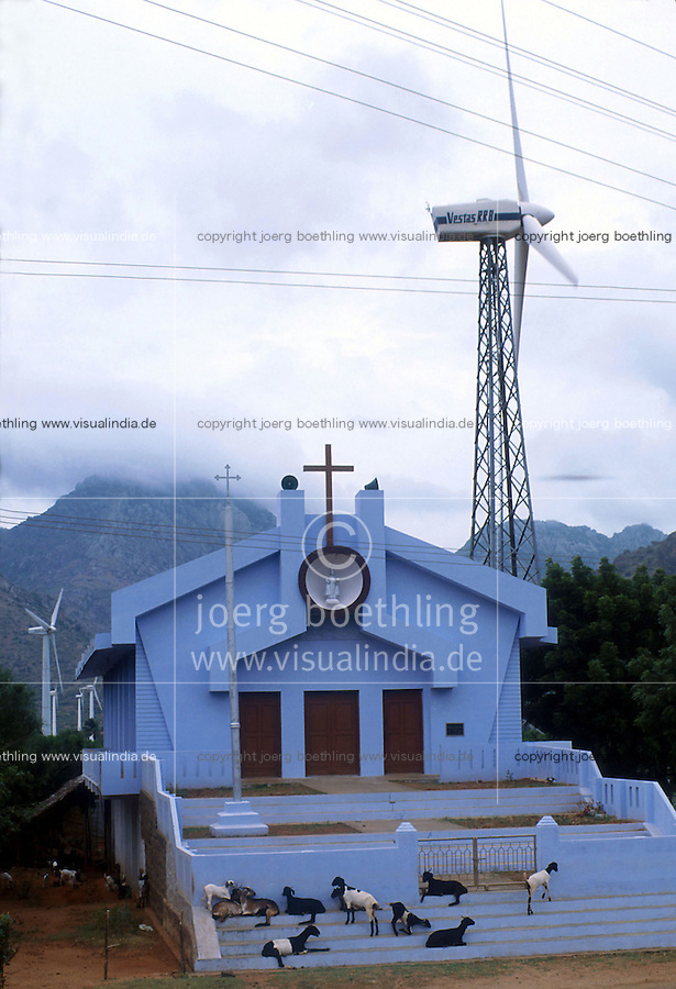INDIA Tamil Nadu, Kanyakumari, Cape Comorin, windpark with Vestas windturbine and church / INDIEN, Kanniyakumari, Kap Komorin, Windkraftanlage Vestas vor einer Kirche