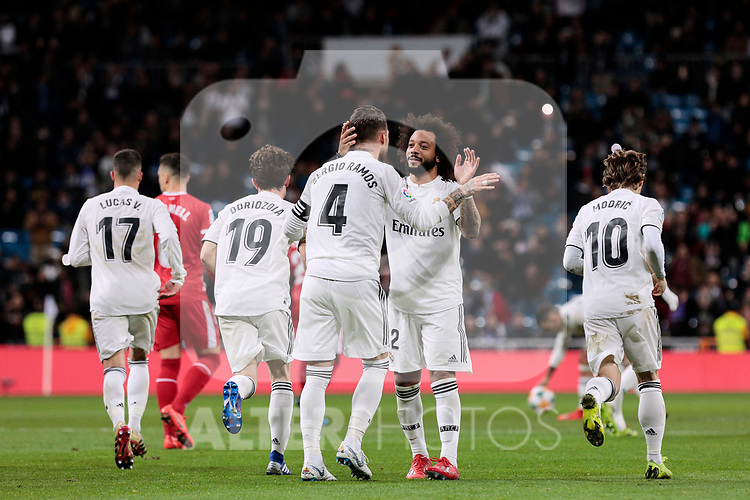 Real Madrid's Sergio Ramos (L) and Marcelo Vieira (R) celebrate goal during Copa del Rey match between Real Madrid and Girona FC at Santiago Bernabeu Stadium in Madridrm12 2019. (ALTERPHOTOS/A. Perez Meca)