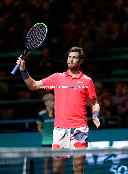 Rotterdam, The Netherlands, 11 Februari 2020, ABNAMRO World Tennis Tournament, Ahoy, <br /> Karen Khachanov (RUS).<br /> Photo: www.tennisimages.com