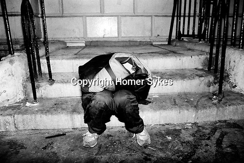 Glue sniffing teenagers sleeping rough central London 1983. UK<br />