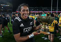 Jackie Patea-Fereti with the trophy after the Laurie O'Reilly Memorial Trophy international women's rugby match between the New Zealand Black Ferns and Australia Wallaroos at Eden Park in Auckland, New Zealand on Saturday 25 August 2018. Photo: Simon Watts / lintottphoto.co.nz