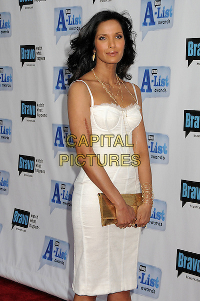 "PADMA LAKSHMI.Bravo's 2nd Annual ""The A-List Awards"" held at The Orpheum Theatre, Los Angeles, CA, USA..April 5th, 2009.half 3/4 length white gold clutch bag dress corset style scar .CAP/ADM/BP.©Byron Purvis/AdMedia/Capital Pictures."