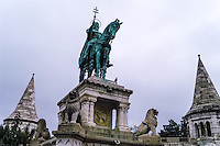 Budapest, Hungary.  Bronze statue of Stephen I of Hungary. Castle Hill.