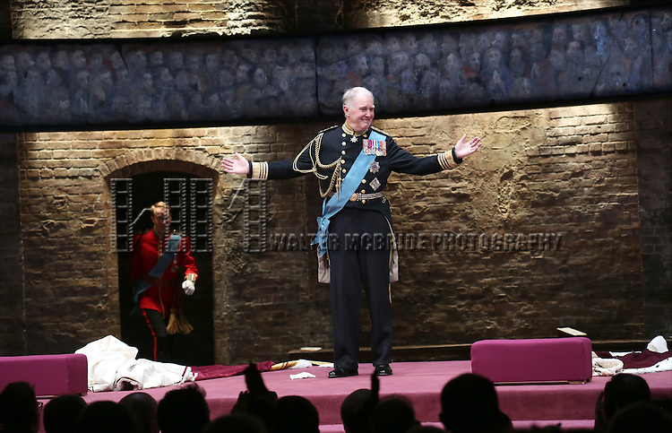 Oliver Chris and Tim Pigott-Smith during the Broadway Opening Night performance curtain call bows for 'King Charles III' at the Music Box Theatre on November 1, 2015 in New York City.