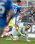 St Johnstone v Aberdeen&hellip;15.09.18&hellip;   McDiarmid Park     SPFL<br />Ross Callachan is taken down by Joe Lewis<br />Picture by Graeme Hart. <br />Copyright Perthshire Picture Agency<br />Tel: 01738 623350  Mobile: 07990 594431