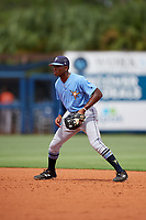 Tampa Bay Rays Kea'von Edwards (54) during a Florida Instructional League game against the Baltimore Orioles on October 1, 2018 at the Charlotte Sports Park in Port Charlotte, Florida.  (Mike Janes/Four Seam Images)