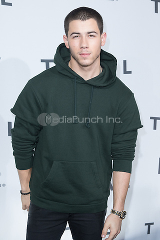 BROOKLYN, NY - OCTOBER 20: Nick Jonas on arrivals for TIDALx1020 Concert at Barclays Center in Brooklyn, NY on October 20, 2015. Credit: Abel Fermin/MediaPunch