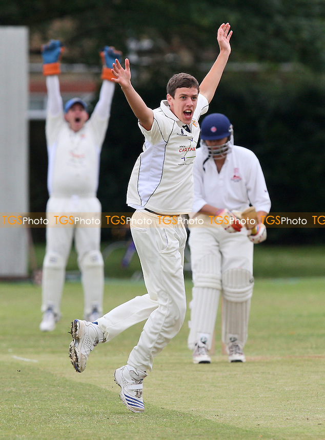 J Coote of Hornchurch Athletic claims the wicket of Leyton County batsman A Patel, trapped lbw - Hornchurch Athletic CC vs Leyton County CC - Lords International Essex Cricket League at Hylands Park - 11/07/09 - MANDATORY CREDIT: Gavin Ellis/TGSPHOTO - Self billing applies where appropriate - 0845 094 6026 - contact@tgsphoto.co.uk - NO UNPAID USE.