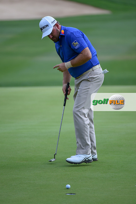 Graeme McDowell (NIR) watches his putt on 18 during day 3 of the Valero Texas Open, at the TPC San Antonio Oaks Course, San Antonio, Texas, USA. 4/6/2019.<br /> Picture: Golffile | Ken Murray<br /> <br /> <br /> All photo usage must carry mandatory copyright credit (© Golffile | Ken Murray)
