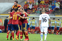 16.06.2013 Recife, Brazil. Spainish Players Celebrate After Scoring during the Confederations Cup Group B game between Spain and Uruguay from Arena Pernambuco.