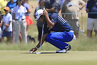 Hideki Matsuyama (JPN) on the 8th green during Saturday's Round 3 of the 118th U.S. Open Championship 2018, held at Shinnecock Hills Club, Southampton, New Jersey, USA. 16th June 2018.<br /> Picture: Eoin Clarke | Golffile<br /> <br /> <br /> All photos usage must carry mandatory copyright credit (&copy; Golffile | Eoin Clarke)