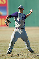 James Madison right fielder Kellen Kulbacki (21) gets the ball back to the infield versus Charlotte at Fieldcrest Cannon Stadium in Kannapolis, NC, Friday, March 2, 2007.  The Charlotte 49'ers defeated the James Madison Dukes 16-7.
