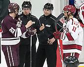 Mike Borkowski (Colgate - 21), Chip McDonald, Matt Riegert, Kyle Criscuolo (Harvard - 11) - The Harvard University Crimson defeated the visiting Colgate University Raiders 7-4 (EN) on Saturday, February 20, 2016, at Bright-Landry Hockey Center in Boston, Massachusetts,