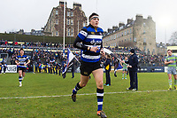 Darren Atkins and the rest of the Bath Rugby team run out onto the field. Anglo-Welsh Cup match, between Bath Rugby and Newcastle Falcons on January 27, 2018 at the Recreation Ground in Bath, England. Photo by: Patrick Khachfe / Onside Images