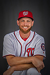 22 February 2019: Washington Nationals pitcher Stephen Strasburg poses for his Photo Day portrait at the Ballpark of the Palm Beaches in West Palm Beach, Florida. Mandatory Credit: Ed Wolfstein Photo *** RAW (NEF) Image File Available ***